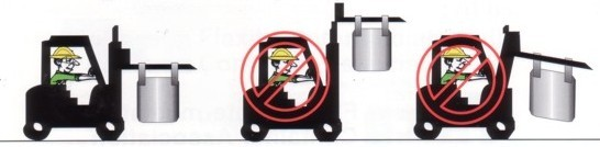 Correct way to lift bags using fork lift